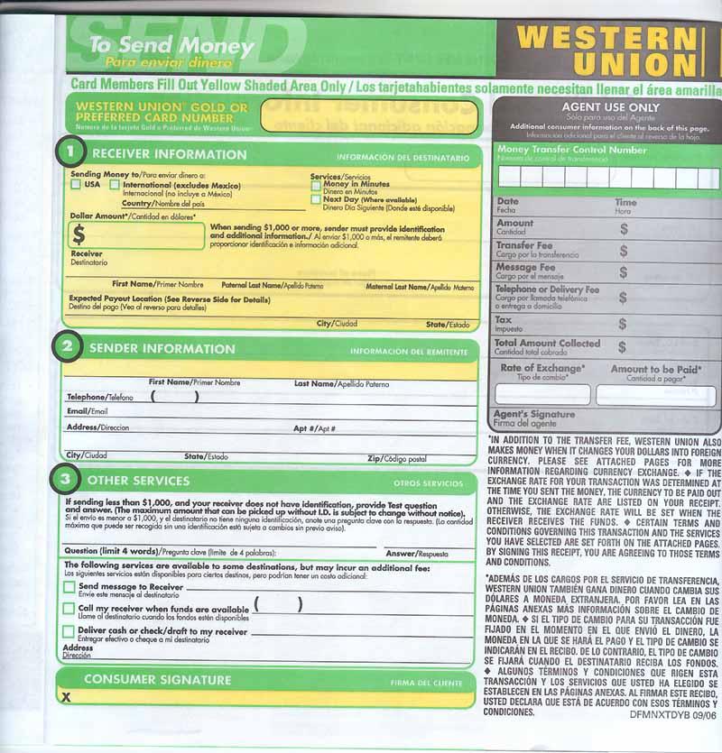 western union online formular